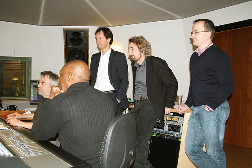 Roland Häring, John Davis, Lucius A. Hemmer, Heinz Walter Florin und Matthias Lange im Streetlife Studio (v.l.)